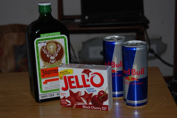 Jager Bomb Black Cherry Jello Sometimes I Use Orange They Are Both Good Here And Red Bull Boil Two Cups Red Bull Mix Two Minutes Then Add Two Cups
