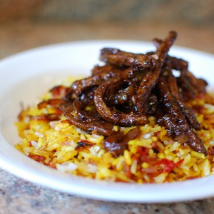 Cherry Rice with Bourbon Beef