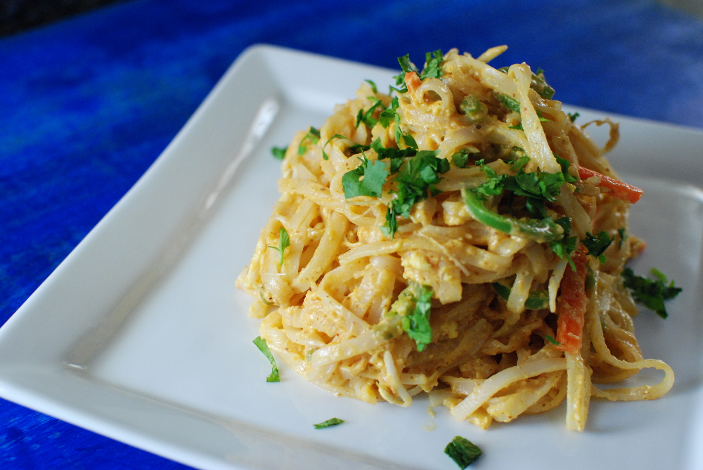 spicy noodles in a sweet potato almond sauce - the food in