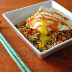 Turkey Fried Rice with an Egg