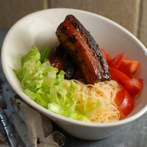 Pork Belly Lettuce Tomato Noodle