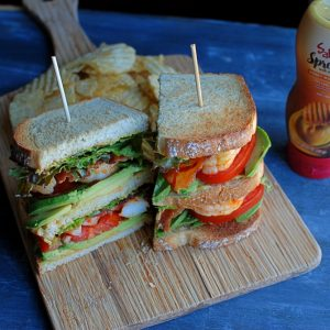 Honey Mustard Shrimp Club Sandwich