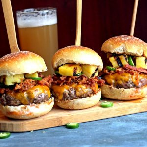 Pork Burger Sliders with Pineapple and Jalapeno