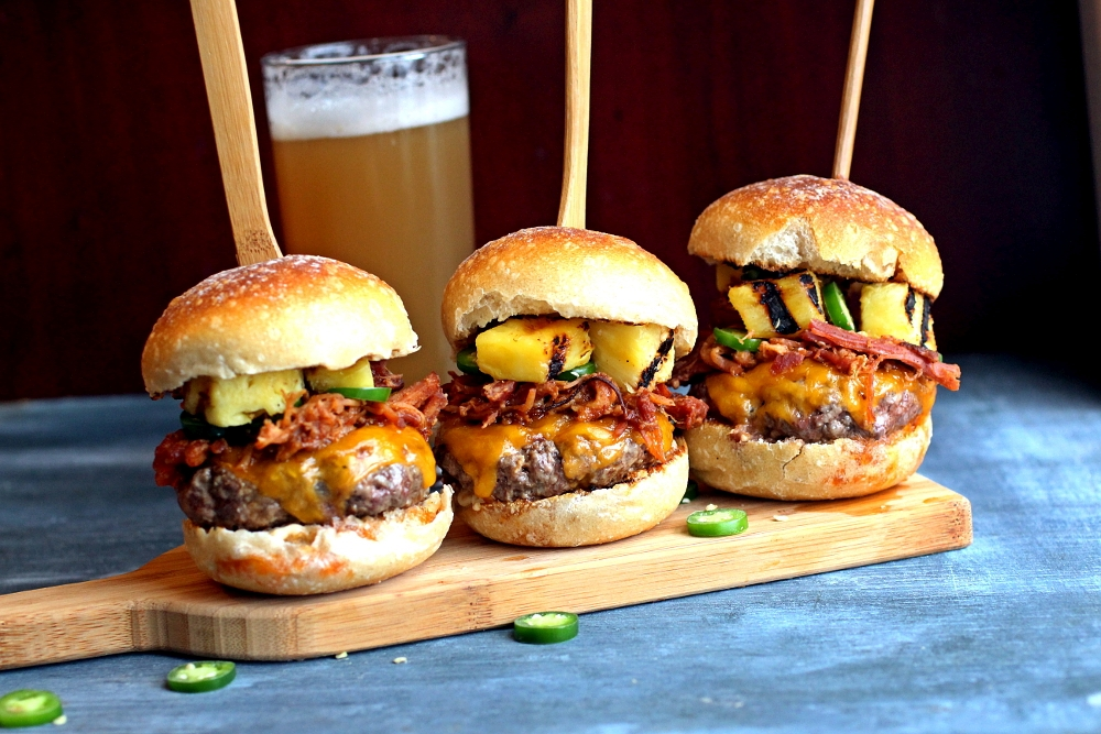 Pulled Pork Cheeseburger Sliders With Pineapple And