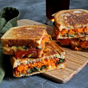 Chipotle Gouda Grilled Cheese with Sweet Potato Tots and Bacon
