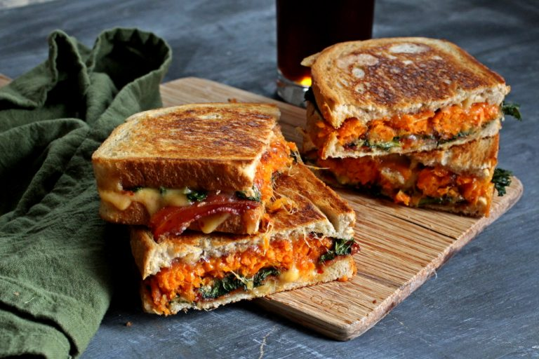 Sriracha Gouda Grilled Cheese with Sweet Potato Tots and Bacon