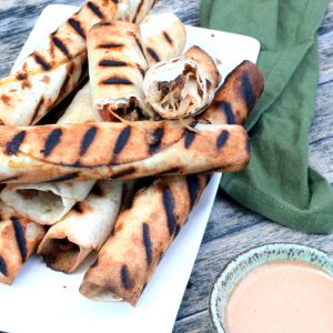 Grilled cheeseburger taquitos