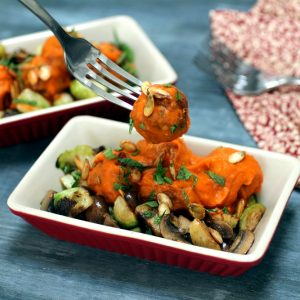 Chicken Meatballs with Pumpkin Romesco