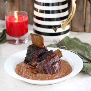 Short ribs with chocolate polenta