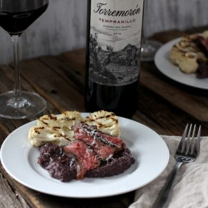 Tempranillo polenta with skirt steak