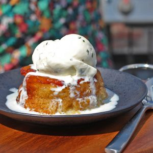 Upside Down Peach Cake with Basil Ice Cream