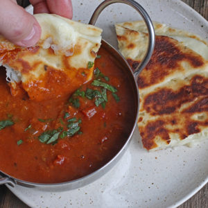 Butter Chicken Soup with Naan Grilled Cheese