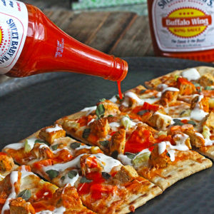 Buffalo Chicken Meatball Flatbread