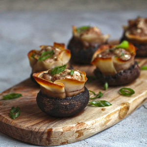 Pork Dumpling Stuffed Mushrooms
