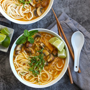 Sweet Potato Coconut Pork Udon Bowls