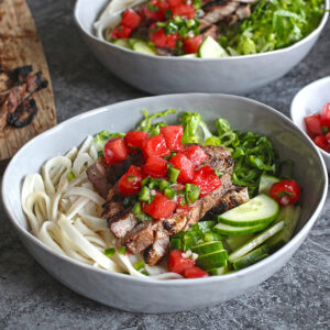 Pork Noodle Bowls with Watermelon Salsa