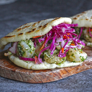 Pesto Shrimp Arepas