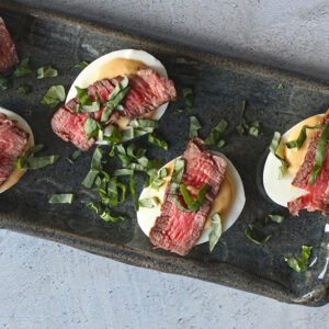 Steak and Red Pepper Deviled Eggs