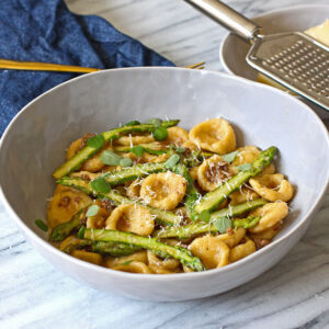 Handmade Orecchiette with Asparagus and Roasted Garlic
