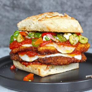 Double Chicken Parm with spicy giardiniera